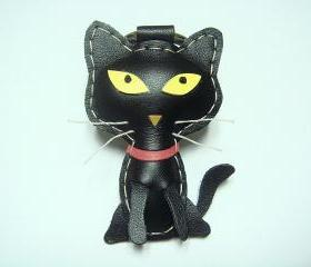 Octavian the Cat leather keychain ( Black )