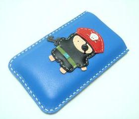 Hez the Pirate iPhone leather case ( Blue )