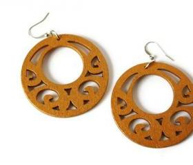 Big Gold Earrings in Wood. Gold Tone Wood Dangle Earrings. Boho Style.