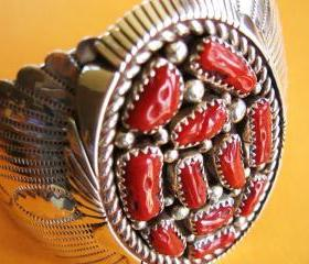 Vintage Sterling Silver Coral Southwestern Bracelet Cuff