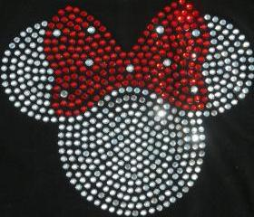 8.5' red clear Minnie Mouse iron on rhinestone transfer for Disney t-shirt