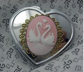 Sweetheart Swans Silver Heart Compact Mirror In Pink