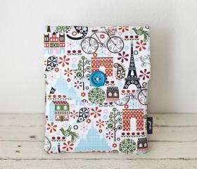 iPad Case - Paris Birds Bicycles Trees - Padded with Pocket