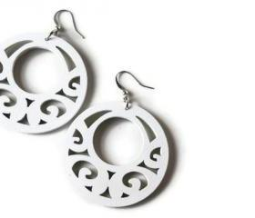 Big White Wood Earrings in Boho Style. Lightweight. Ready to ship.