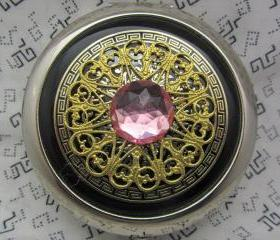 Compact Mirror Black and Pink