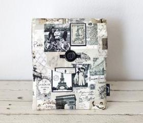 iPad Case - Paris Vintage Postage - Padded with Pocket