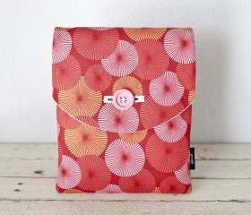 iPad Case - Coral Pink Peach Pinwheels - Padded with Pocket
