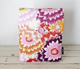 iPad Case - Floral Pink Peach Dahlias - Padded with Pocket