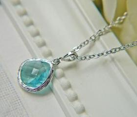 Sale. Aquamarine Light Blue Glass Pendant Necklace. Silver. Modern. Elegant