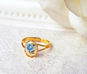 Vintage Blue Rose Ring In Gold. Adjustable. Romantic.Elegant