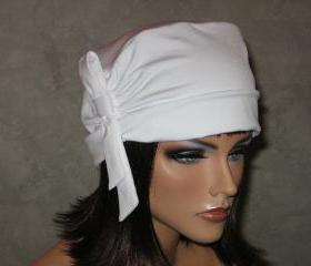 Made to Order Handmade Side Shirred Turban Hat with Looped Tie -White
