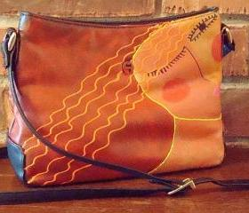 Hand Painted Handbag with My Funky Abstract Portrait of a Woman