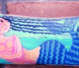 Hand Painted Handbag with My Funky Abstract Mermaid Painting