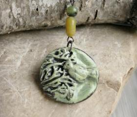 Bird Polymer Clay Pendant Necklace in Earthy Tones