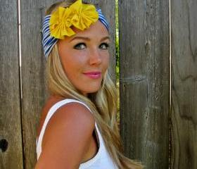 Nautical Jersey Knit Headband with Jersey Fabric Flowers