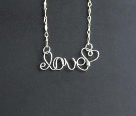 Love Necklace Wire Word Jewelry 