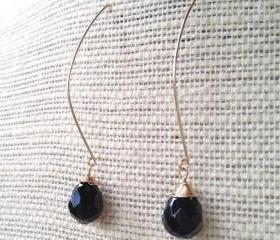 Elegant Onyx Drop Gold Filled Earrings