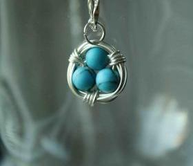 Blue Bird Nest Necklace Wire Wrapped 