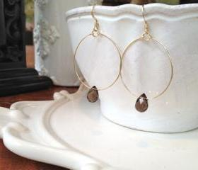 Handmade Gold Filled Circle Smoky Quartz Earrings
