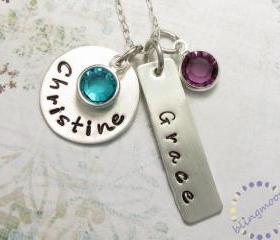 Personalized Jewelry Charm necklaces for moms Personalized Necklace hand stamped charms silver pendant silver necklace