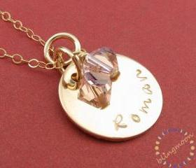 Hand stamped gold necklace: 14K gold filled disc charm necklace with birthstone