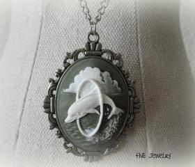 Oval Dolphin Pendant on Antique Silver Chain Necklace - Jewelry by FIVE