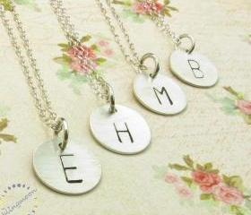 Initial charm necklace: sterling silver personalized necklace bridesmaids gift