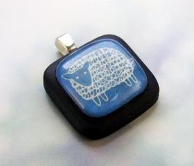 Little Blue Sheep on black pendant