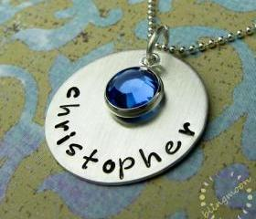 Hand Stamped Jewelry - Hand Stamped Necklace - Personalized Charm Necklace - Sterling Silver - Crystal Charm - Handstamped Jewelry