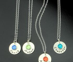 Sterling silver necklace birthstone charm personalized jewelry name pendant