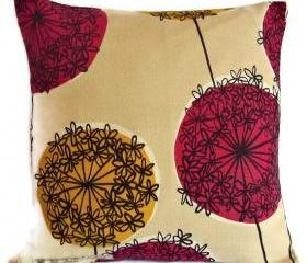 John Lewis Allium cotton fabric cushion cvover in pink and yellow with zip fastening 35cm