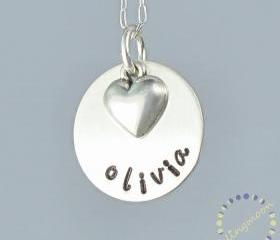 Handstamped Necklace - Personalized Jewelry - Charm Necklace - Sterling Silver Necklace - Custom Made Necklace - Engraved Necklace