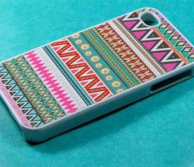 Pink Aztec Iphone 4 Case - Aztec Iphone 4s Case, Iphone Case, Iphone 4 Cover