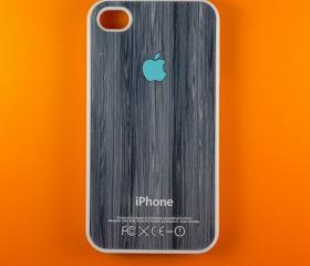 Iphone 4 Case - Turquoise Logo on Wood Iphone 4s Case, Iphone Case, Iphone 4 Cover