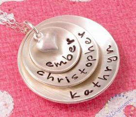 Hand Stamped Jewelry' Personalized sterling silver necklace for mom three discs