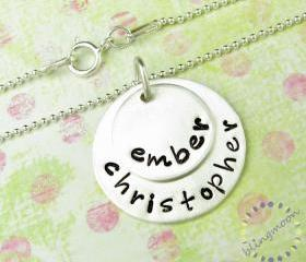 Sterling Silver Necklace - Engraved Necklace - Two Names - Silver Charm