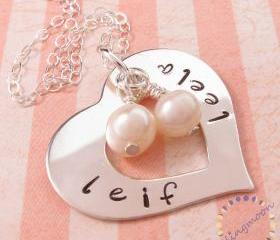 Silver heart necklace: personalized charm necklace with pearls