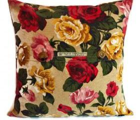 Vintage 1950s linen roses cushion cover with pattern matched front button fastening 45cm