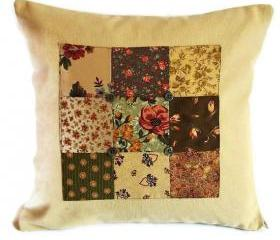 Vintage style patchwork panel cushion cover with button detail in rich warm rusts and greens 35cm