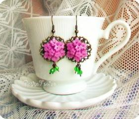 Máire earrings - 'Treasures' collection, vintage style flower earrings in violet and green