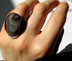 Natural Ring, Botswana Agate Gemstone, Oxidized Copper, Custom Made, Mocha Cream