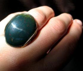 Forest Green Ring, Bloodstone, Gold Fill, Chunky Stone Ring, Mens Ring, Women