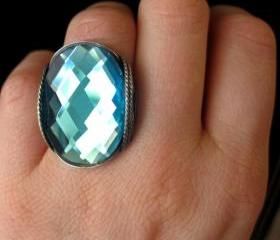 Turquoise Glass Ring, Faceted, Bright Aqua Blue, Oxidized Silver
