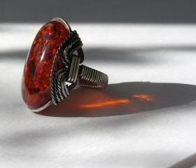 Madeira Amberlite Ring, Amber Red, Oxidized Silver, Dark Orange Red