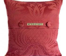 Vintage Thornber soft flock damask cushion cover in dusky rose with fabric covered button fastening 40cm