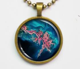 Geographic Photograph Necklace -Mississippi River Delta -Geography Series