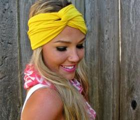 Vintage Turban Style Stretch Rayon Jersey Knit Headband in Sunshine Yellow- Multi Ways to Wear