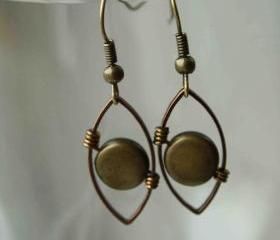 Wire Wrapped Earrings Copper 