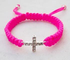 Friendship bracelet cross bracelet neon pink stack jewelry