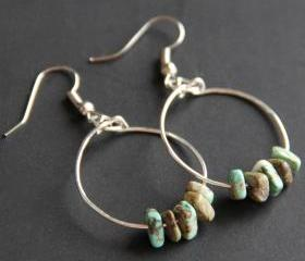 African Turquoise Hoop Earrings 